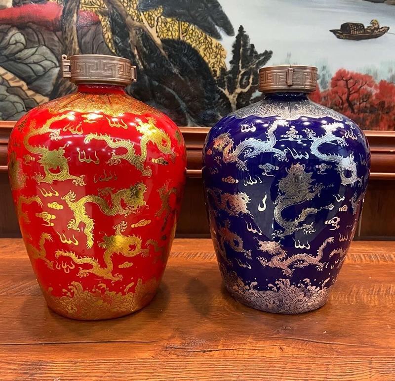 红色蓝色金龙银龙10斤创意贝博官方网址空酒罐密封白贝博手机版