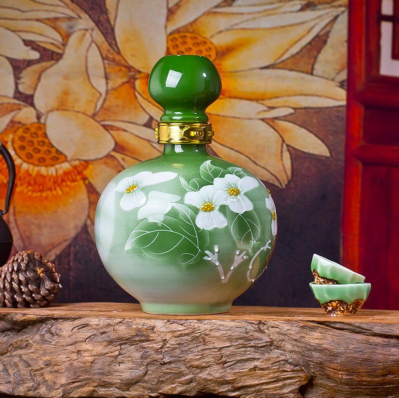 5斤10斤绿釉菊花贝博官方网址空酒罐密封带锁扣白贝博手机版