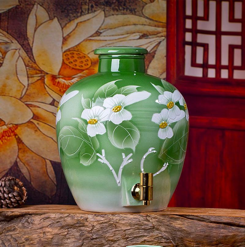 10斤20斤绿釉空贝博备用网址白酒空罐密封酿酒罐子
