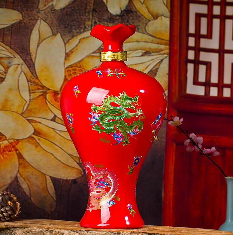 5斤花盖红色梅瓶红龙创意贝博官方网址密封贝博手机版